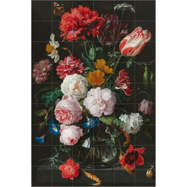 IXXI Rijksmuseum Still life with flowers in a glass vase wanddecoratie