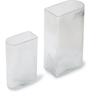 HKliving Ribbed vaas set van 2